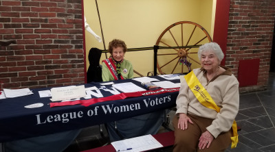 MIMI AND RHODA FROM EAST NASSAU REGISTER PEOPLE AT THE BETHPAGE RESTORATION VILLAGE ON SUNDAY, MAY 6TH.