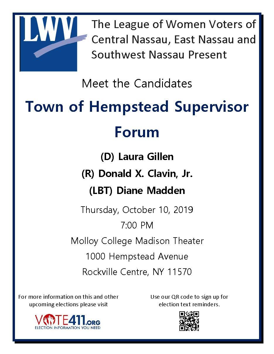 LWVNC Meet the Candidates Hempstead Supervisor Forum