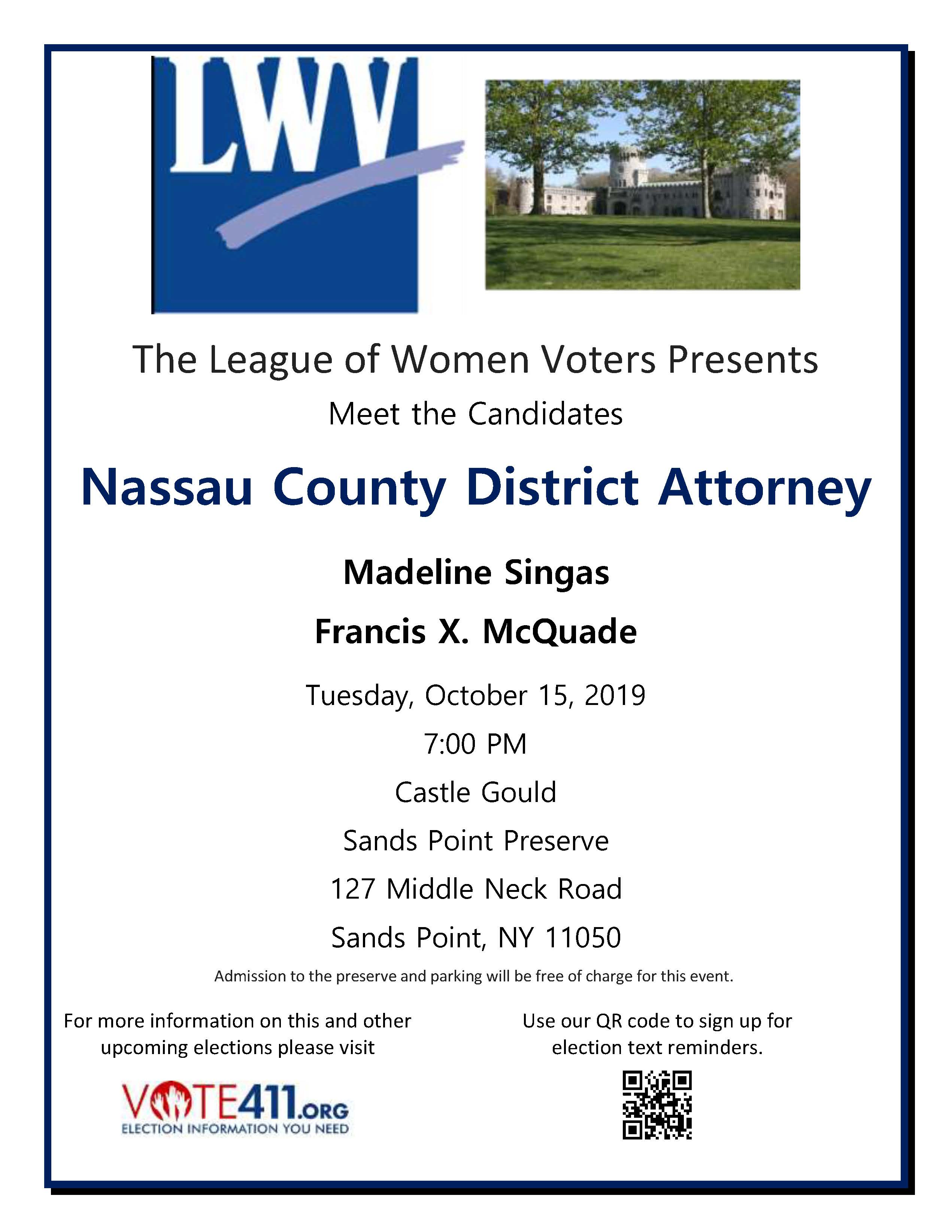 LWVNC Meet the Candidates Nassau District Attorney 101519 final