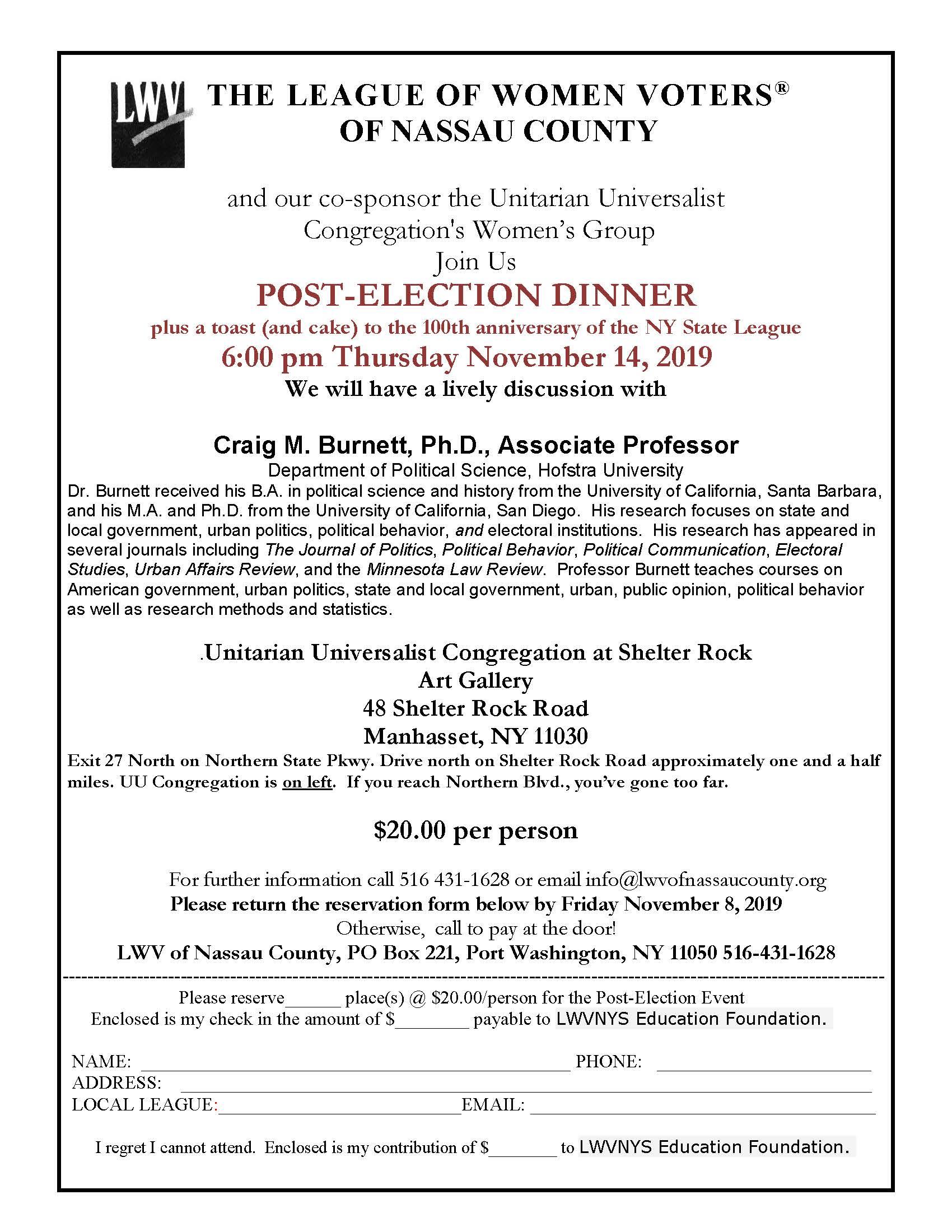 lwvnc Post Election Supper Flyer 2019 111419