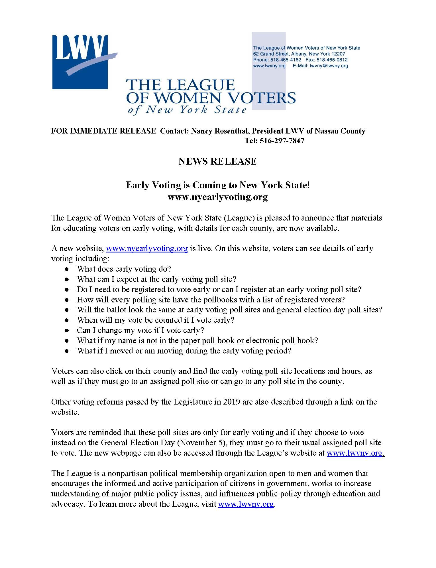 Press Release Early Voting Sept 2019 Nancy